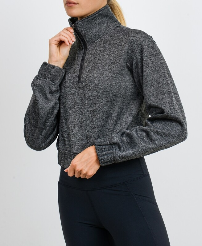 Crop Zippered Essential Pullover