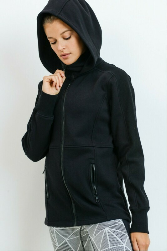 High-Neck and Hooded Active Jacket