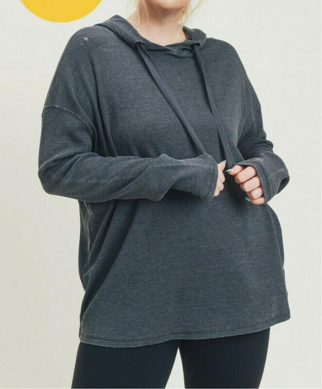Thermal Edit Length Boxy Hoodie Sweatshirt