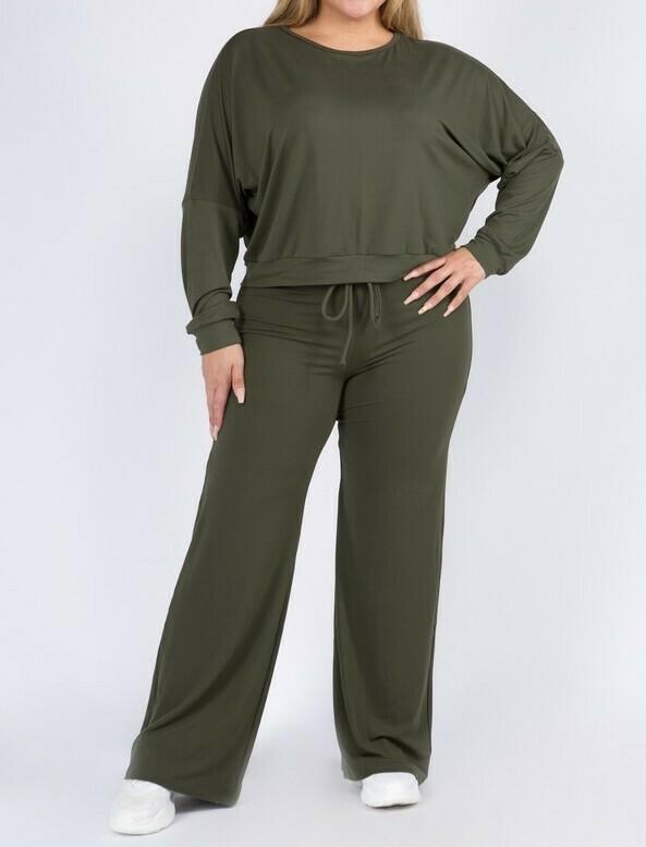 Plus Drawstring Wide-Leg Lounge Pants Set