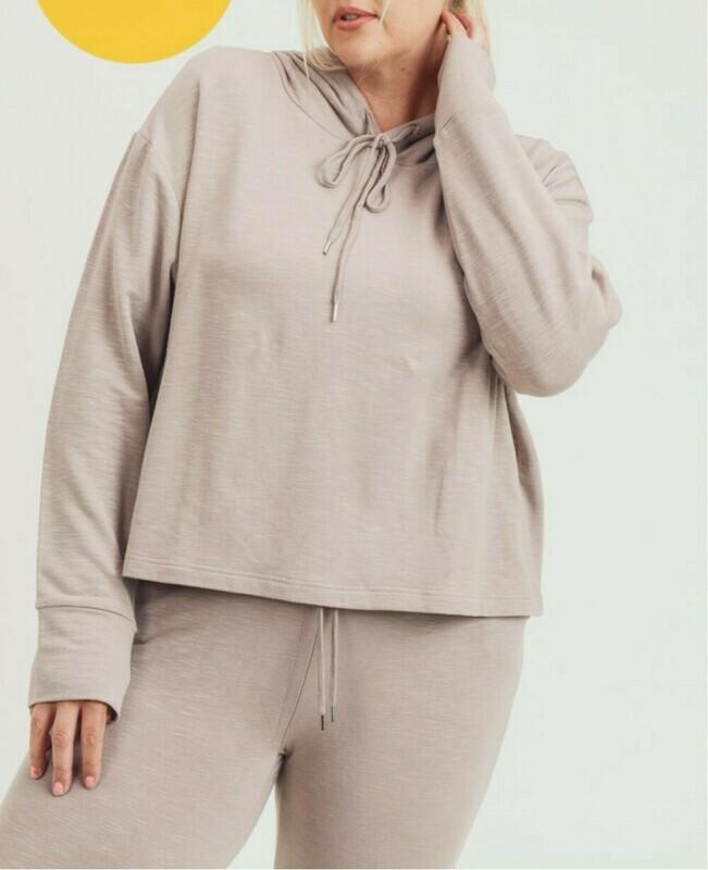Slub Knit Cropped Hoodie Boxy Sweatshirt