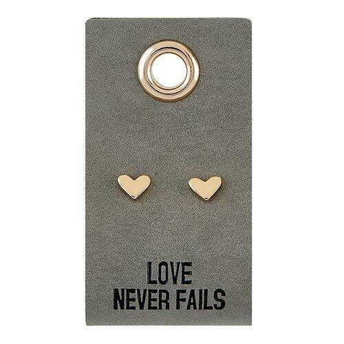 Love Never Fails Heart Earrings