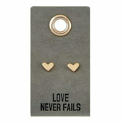 Leather Tag Heart Earrings