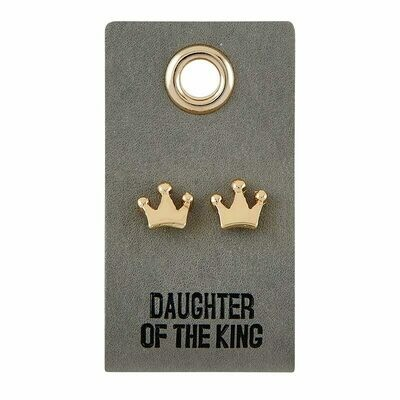 Leather Tag Crown Earrings