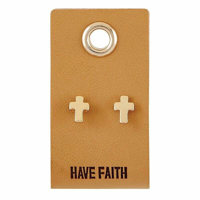 Leather Tag Cross Earrings