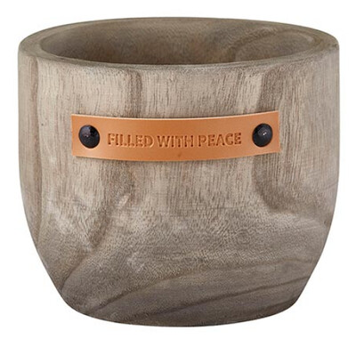Wood Planter- Filled with Peace
