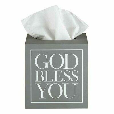 Square Tissue Box Cover Grey/White
