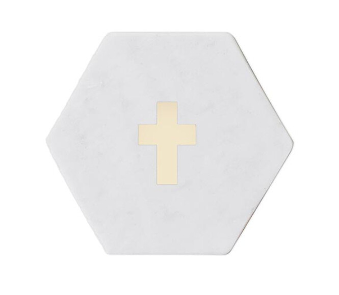 Cross Marble Coaster Set