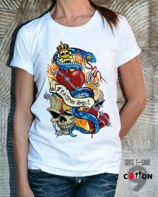 Snake Skulls Print Cotton T-shirt