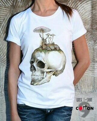 Mushroom Skull Print White Cotton T-shirt