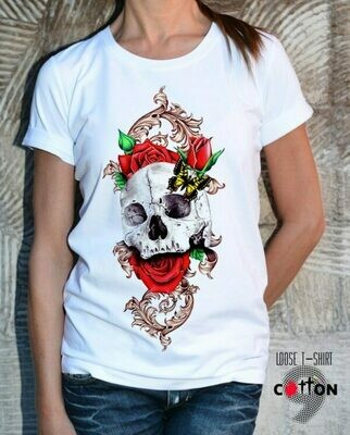 Skull With Flowers Print Cotton T-shirt