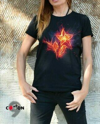 Burning Flower Print Black Cotton T-shirt