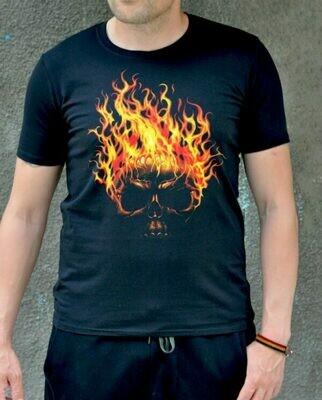 Burning Skull Print Black Cotton T-shirt