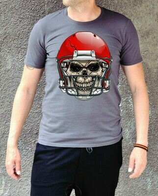 Skull Rugby Print Cotton T-shirt