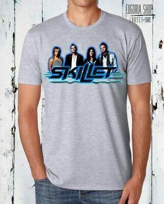 Blue Skillet Print Cotton Celebrity T-Shirt