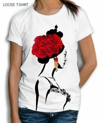 Fashion Art Woman Crown Print Cotton T-shirt