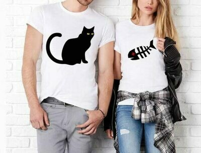 Couples T-Shirts / Couple Outfits / Matching couple set / Cat and Fish Couples T shirts