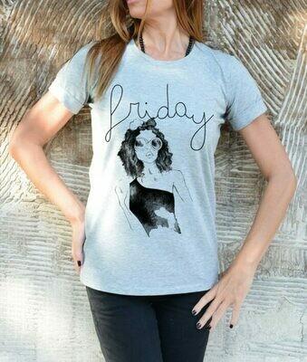 Graphic Friday Girl Print White Cotton T-shirt