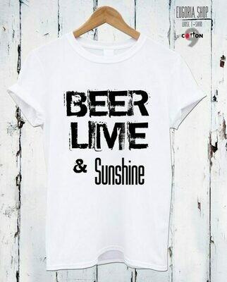 Beer Lime And Sunshine Print Cotton T-Shirt