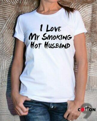 Hot Husband Funny Text Print Cotton T-shirt