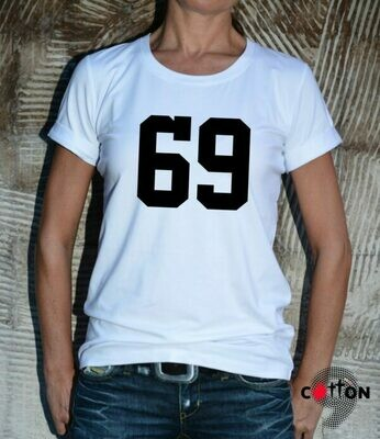 69 Funny Number Print Cotton T-Shirt