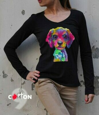 Colorful Art Dog Print Cotton T-Shirt
