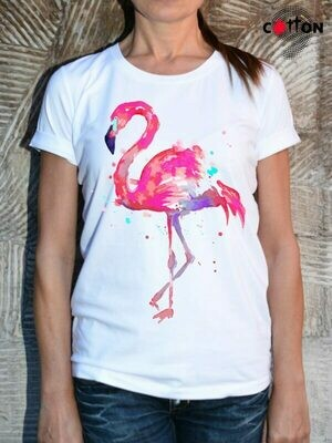 Pink Flamingo Print Cotton T-Shirt