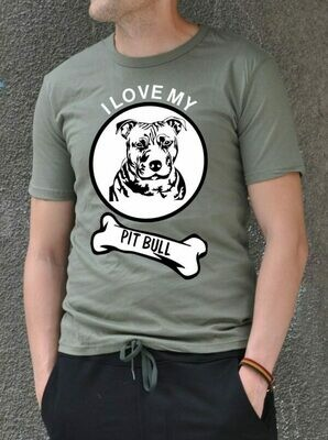 Pit Bull Funny Text Print Cotton T-shirt