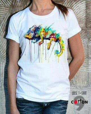Colorful Chameleon Print White Cotton T-shirt