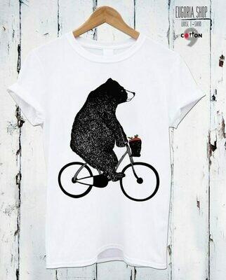 Bear on a Bicycle Print Cotton T-Shirt