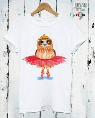 Owl Ballerina Print Cotton T-Shirt