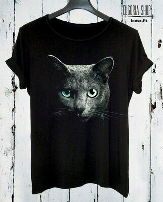 Black Cat Head Print Cotton T-Shirt
