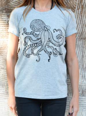 Black Woman Octopus T-shirt