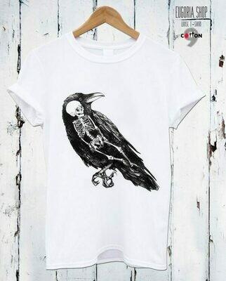 Skeleton in Crow Print Cotton T-Shirt