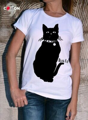 Animated Black Cat Print Cotton T-Shirt