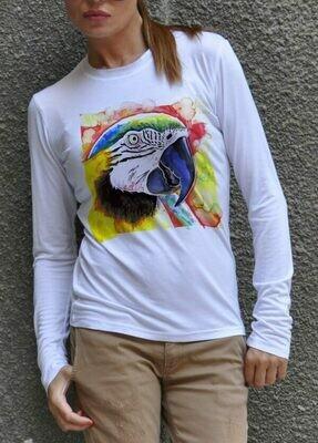 Colorful Art Parrot Print Cotton T-Shirt