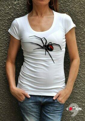 Black Widow Spider Print Cotton T-Shirt