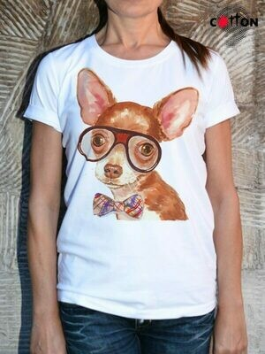 Chihuahua With Glasses Dog Print Cotton T-Shirt