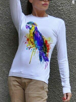 Rainbow Parrot Print Cotton T-Shirt