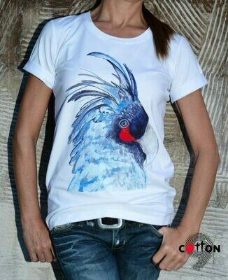 Blue Parrot Print Cotton T-Shirt