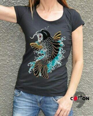 Chinese Fish Print Cotton T-shirt