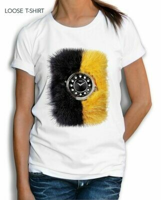 Black and Yellow Watch Print Cotton T-Shirt