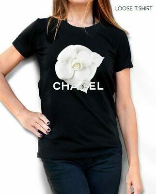 White Chanel Flower Print Cotton T-shirt
