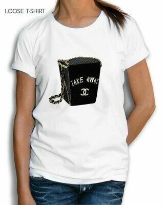 Black Bag Takeaway Chanel Print Cotton T-Shirt