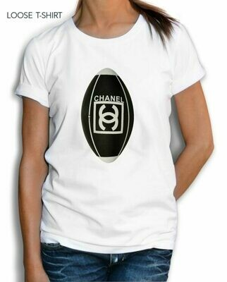 Chanel Football Rugby Print Cotton T-Shirt
