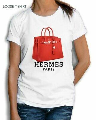 Red Hermes Bag Paris Print Cotton T-Shirt