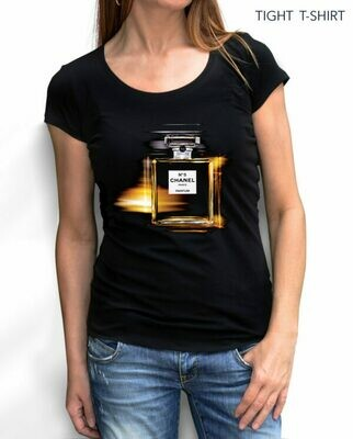 Chanel Paris Perfume Print Cotton T-shirt