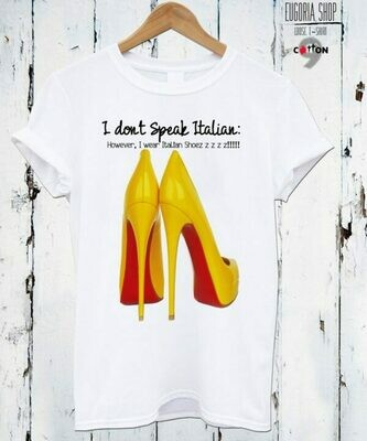 Louboutin Yellow High Heels Print Cotton T-Shirt