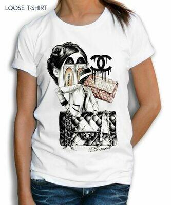 Chanel Bags Shoes Print Cotton T-Shirt