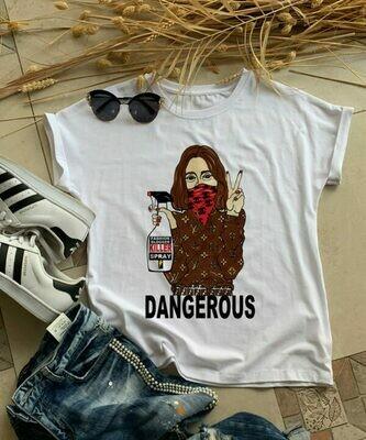 Fashion LV Girl Print Cotton T-shirt